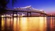 Baton Rouge Bridge Over Mississippi River in Louisiana at Night