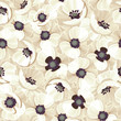 Vector seamless pattern with white poppies.