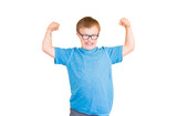 Boy With Downs Syndrome Flexing His Muscles