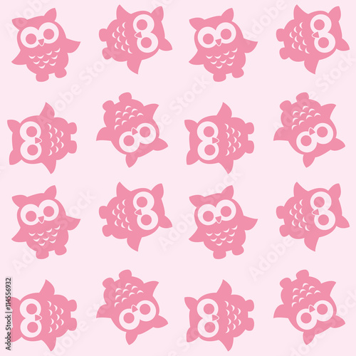 Cotton fabric seamless owl pattern background