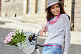 Fashion style photo of a summer women  with vintage  bike