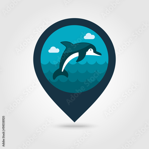 Fototapeta Dolphin pin map icon. Summer. Vacation