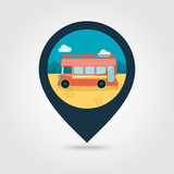Double decker open top sightseeing city bus icon