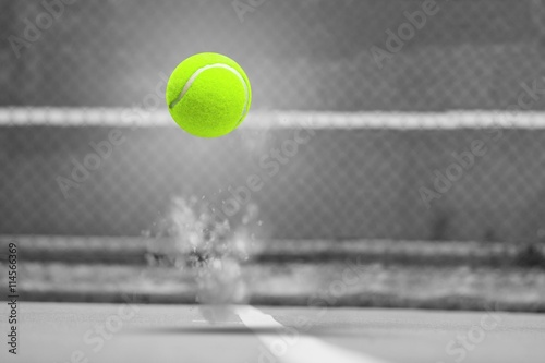 Composite image of tennis ball with a syringe Tableau sur Toile