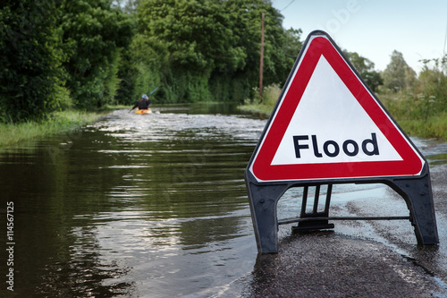 Poster flooded road in essex