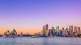 Sydney city skyline at sunrise with vivid coloured sky.  - 114576705
