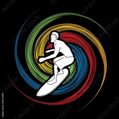 fototapeta na ścianę Surfing designed on spin wheel background graphic vector.