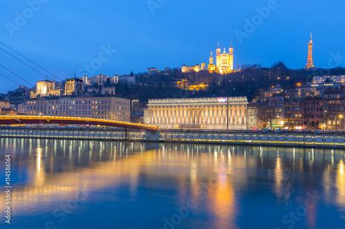 Foto op Canvas Praag Lyon Saone river Fourviere Notre-Dame