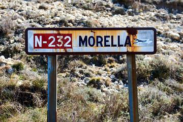 Old road sign of Morrela village. Spain