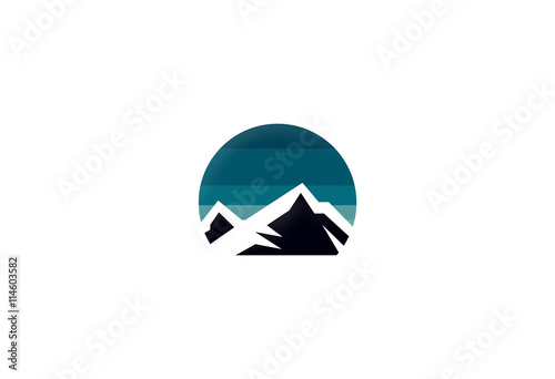 mountain volcano icon logo
