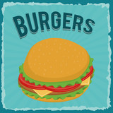 Fast food concept represented by Hamburger icon. Property of colorfull and retro illustration