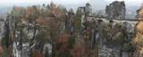Panorama of the Bastei bridge and its surroundings.