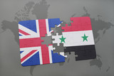 puzzle with the national flag of great britain and syria on a world map background.