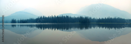 Foggy mountain lake