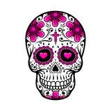 Day Of The Dead Skull. sugar flower tattoo. Vector illustration