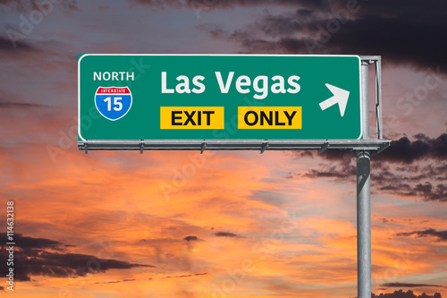 Las Vegas Exit Only Highway Sign with Sunrise Sky