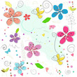 Colorful seamless springtime abstract doodle flowers vector illustration pattern