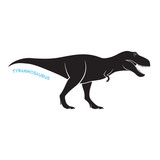 Tyrannosaurus silhouette icon emblem on white background. T-rex vector illustration.