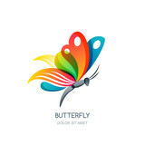 Vector isolated illustration of colorful abstract butterfly. Creative logo design element. Butterfly symbol. Concept for beauty salon, fashion, spa, natural organic cosmetics or makeup.