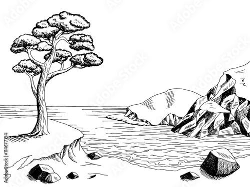 Naklejka Sea coast graphic art pine black white landscape illustration vector