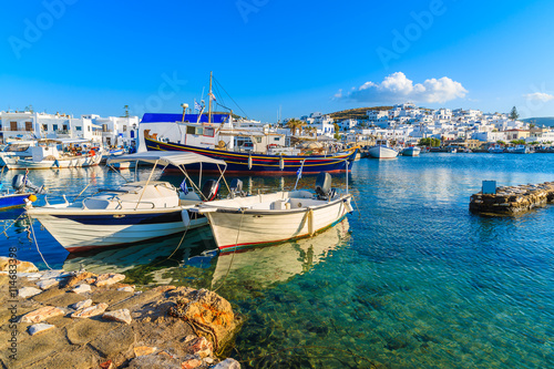 Foto op Plexiglas Cyprus Fishing boats in Naoussa port at sunset time, Paros island, Cyclades, Greece