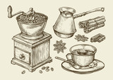 Hand drawn coffee grinder, cup, beans, star anise, cinnamon, chocolate, cezve, drink. Sketch vector illustration - 114693774