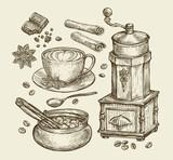 Hand drawn vintage coffee grinder, cup, beans, star anise, cinnamon, chocolate, drink, sugar bowl. Sketch vector illustration - 114694928