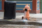 Street orange hydrante spreading water on the street