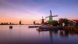 Twilight at Zaanse Schans, windmills village, near Amsterdam