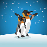 pinguin icon. Snowing background. Vector graphic