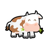 Farm animal concept represented by cow cartoon icon. isolated and flat illustration
