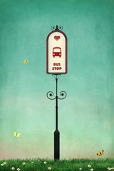 Background  for  card or poster with bus stop sign