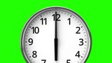 Clock On Green Chroma Key.