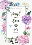 Vector wedding invitation with Hydrangea