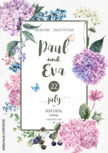 Vector wedding invitation with Hydrangea