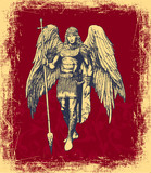 Angel, elegant hand-drawn card on a red grunge background