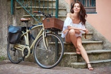 beautiful sexy girl next to the bike - Fine Art prints