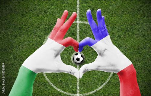 Poster Fußballherz Italien / Frankreich