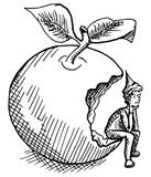 kabouter zit in een appel