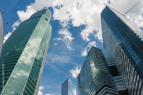 Glass skyscrapers, business center with offices © gnidkin