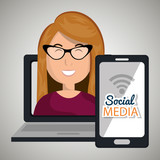laptop user with social networking smartphone isolated icon design, vector illustration  graphic