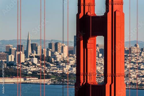 San Francisco as viewed through the Golden Gate Bridge in San Francisco, California
