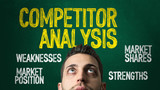 Guy Looking Up in a Chalkboard with the text: Competitor Analysis