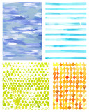 Set of vector watercolor textures representing four seasons of y