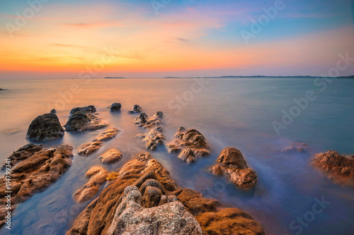 Beautiful sunset on a island in Indonesia