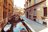 Beautiful view of water street and old buildings in Venice, ITAL