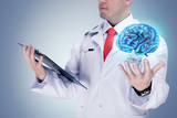 Doctor holding human organs and tablet on grey background . High resolution.