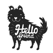 Smiley pies twarzy i tekst liternictwo - hello friend
