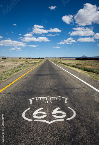 Historic US Route 66 as it crosses though a rural area in the state of Arizona Poster