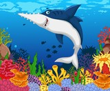 funny shark saws cartoon with beauty sea life background